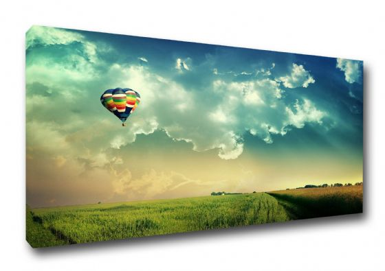 Hot Air Balloon in Blue Sky. Art Canvas. Sizes: A3/A2/A1